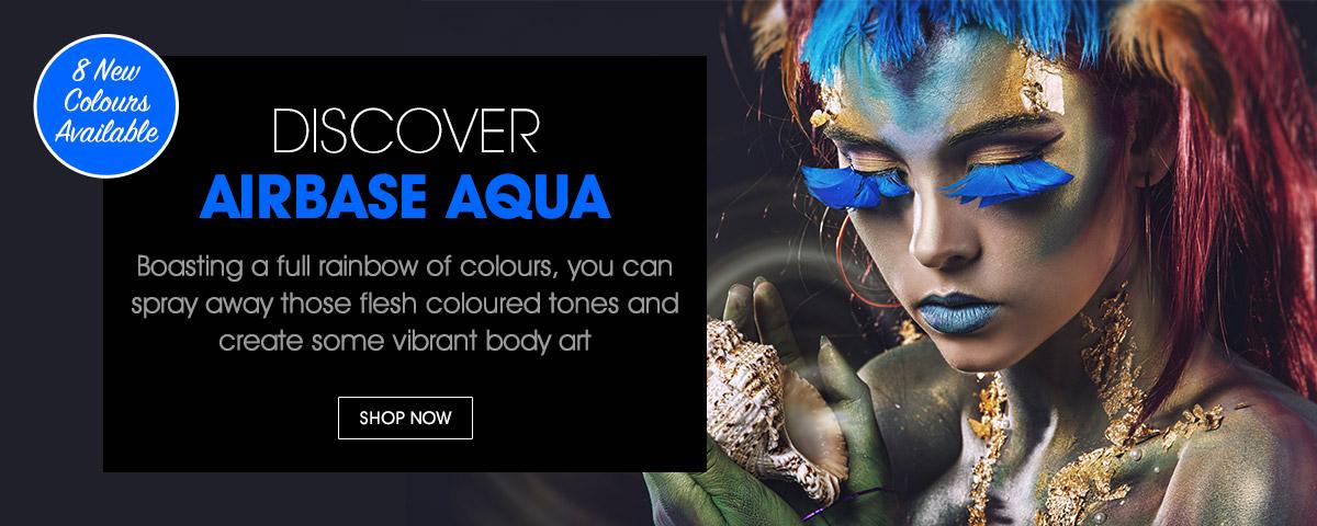 DISCOVER AIRBASE AQUA - Boasting a full rainbow of colours, you can spray away those flesh coloured tones and create some vibrant body art